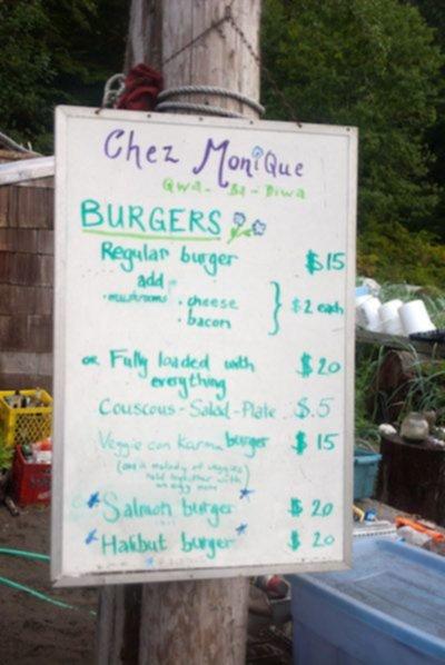 chez monique menu west coast trail